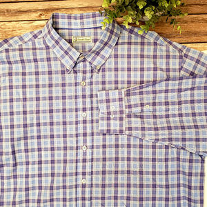 Donald Ross Purple Plaid Button Up Dress Shirt XL